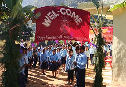 校長による歓迎